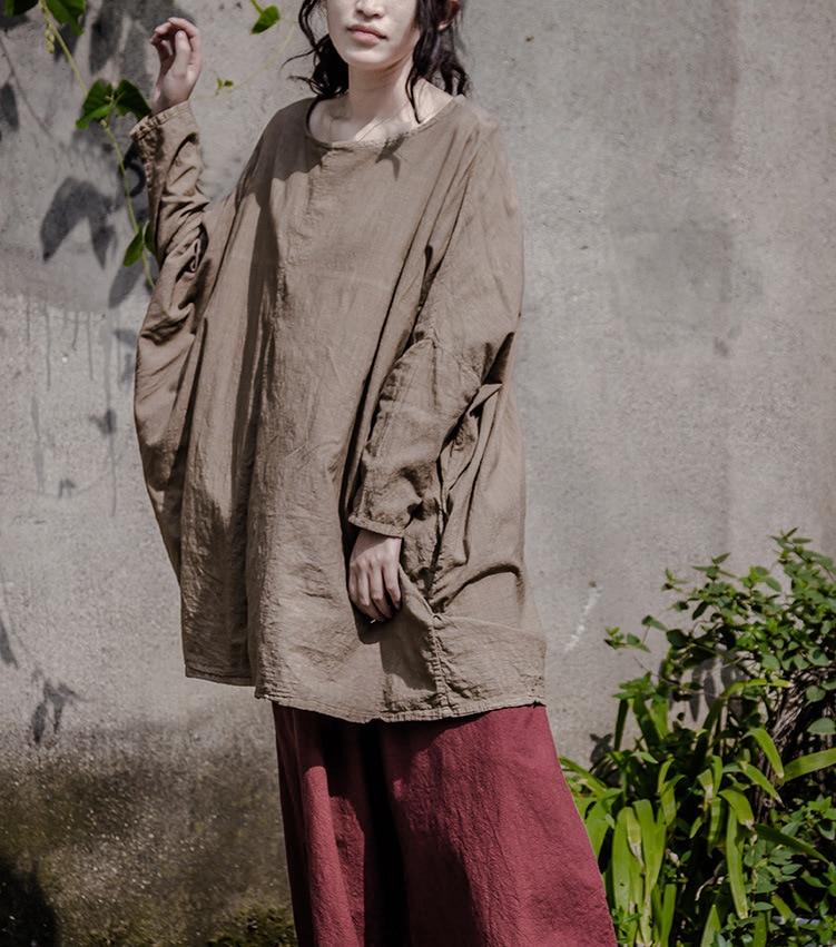 New Autumn Women Vintage Linen Flax Shirt Winter Long