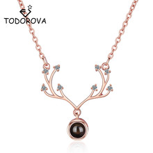 Todorova New Rose Gold Love Memory Wedding Necklace Women 100 Languages I You Projection Pendant Drop Shipping