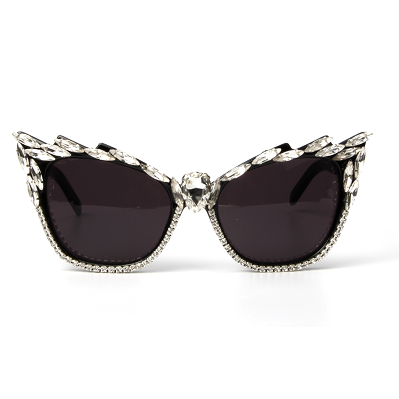 Sunglasses Oculos-De-Sol Cat-Eye Fashion Plastic Women Female-Eyewear Crystal Feminino
