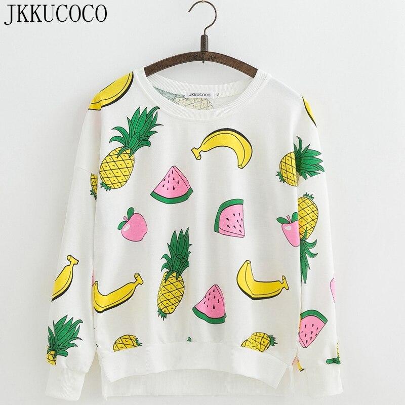 JKKUCOCO New Women sweatshirt banana watermelon pineapple Print Cotton Hoodies O neck Pullovers Women Sweatshirts S