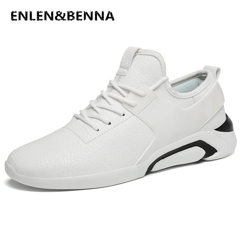 ENLEN&BENNA Big Size Fashion Leather Men Casual Shoes Luxury Brand Designer Men Shoes White Casual Male Shoes White Men Sneakers