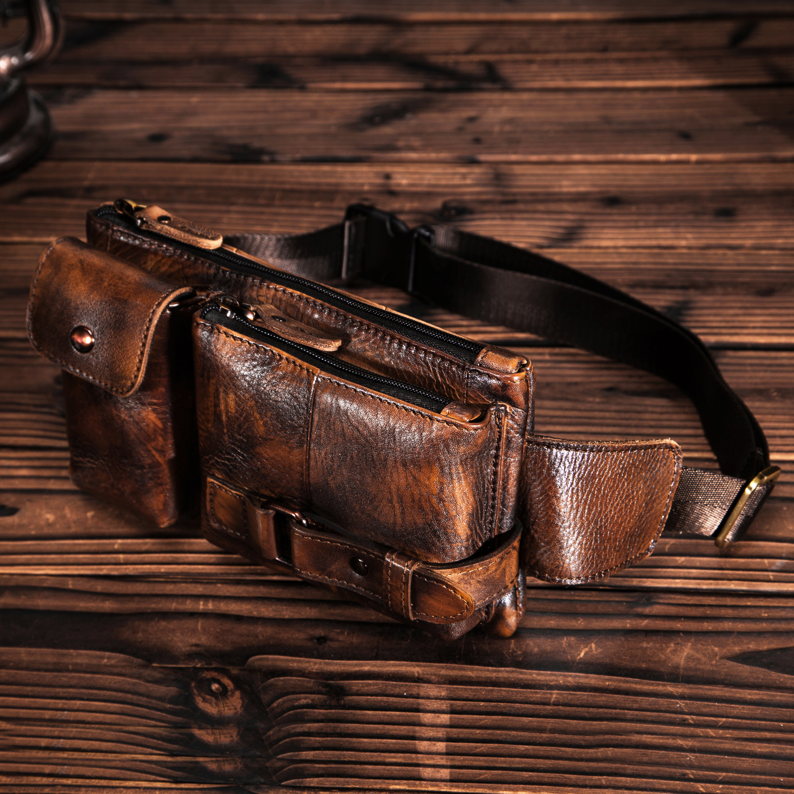 Original Leather Men Casual Fashion Travel Fanny Waist Belt Bag Chest Pack Sling Bag Design Bum Phone Case Pouch Male 8135-G