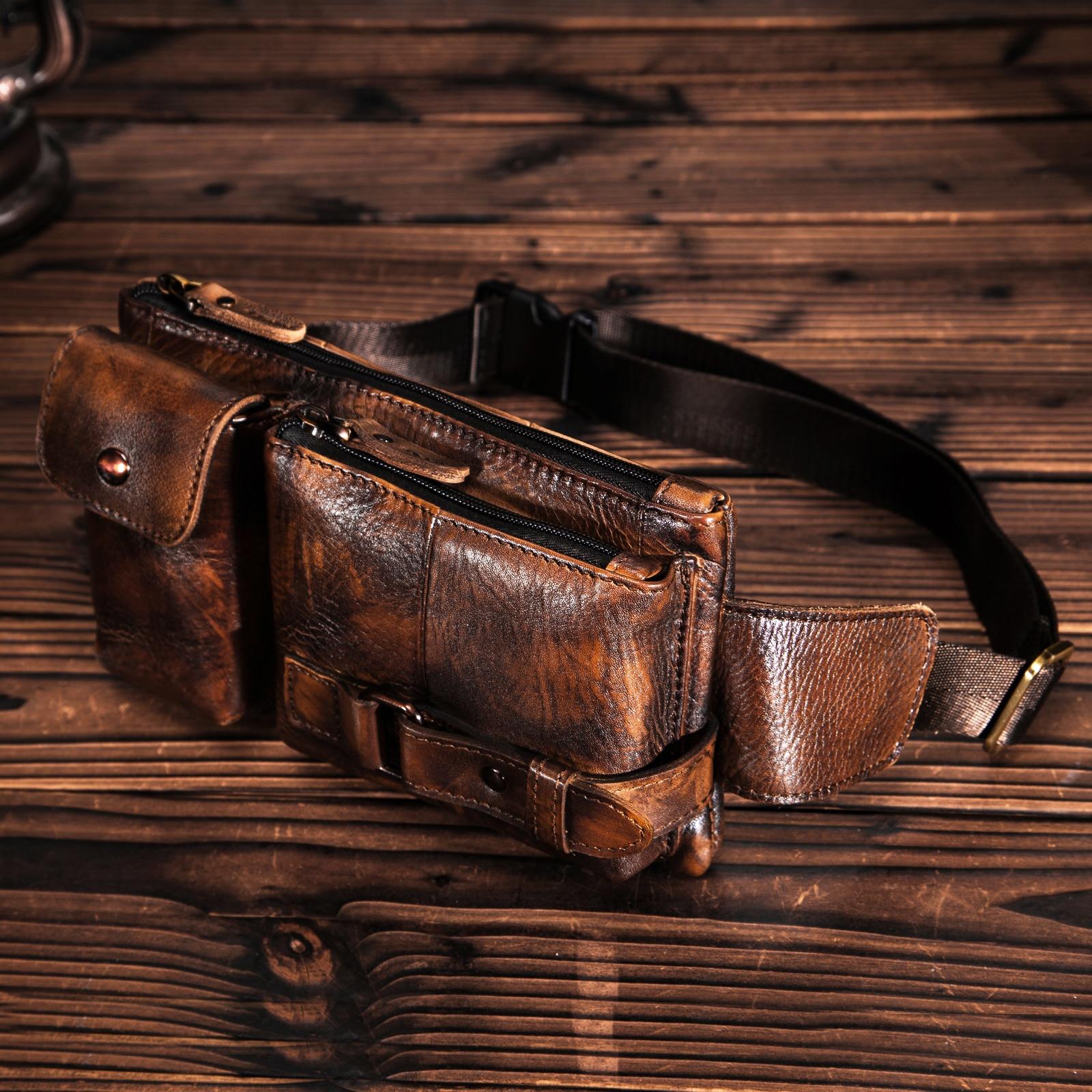 Original Leather Men Casual Fashion Travel Fanny Waist Belt Bag Chest Pack Sling Bag Design Bum Phone Case Pouch Male 8135-G