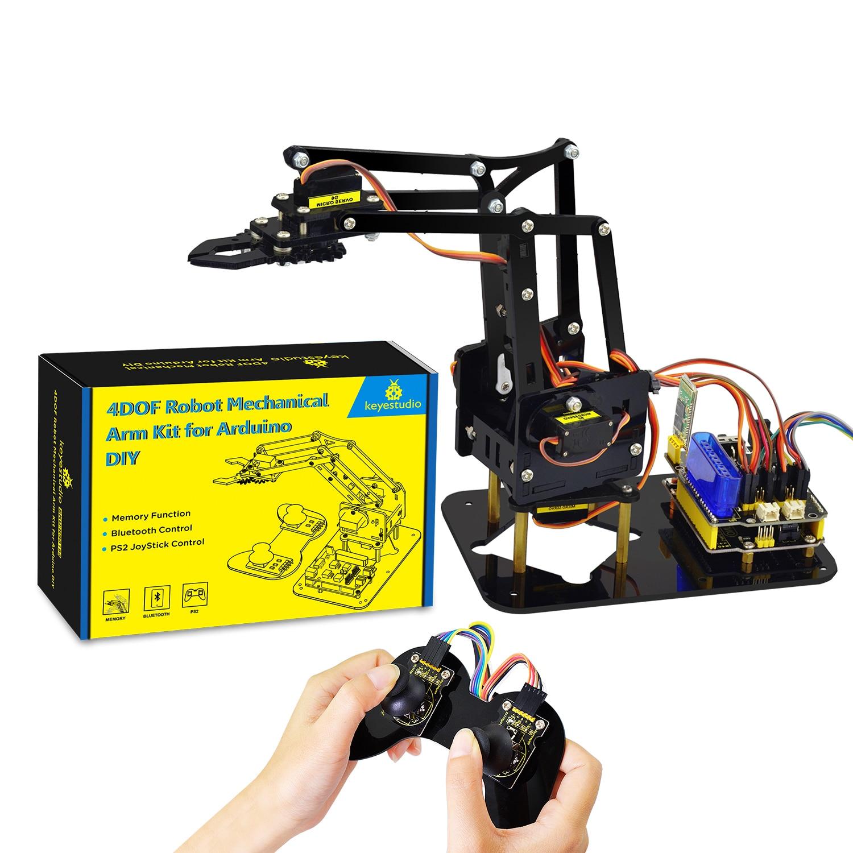 Brinquedos Robô Mecânico Braço Keyestudio 4DOF Acrílico Garra Kit para Arduino Robot DIY