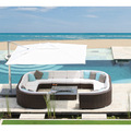 2016 chegada Nova royal garden rattan bali móveis lounge ao ar livre rodada