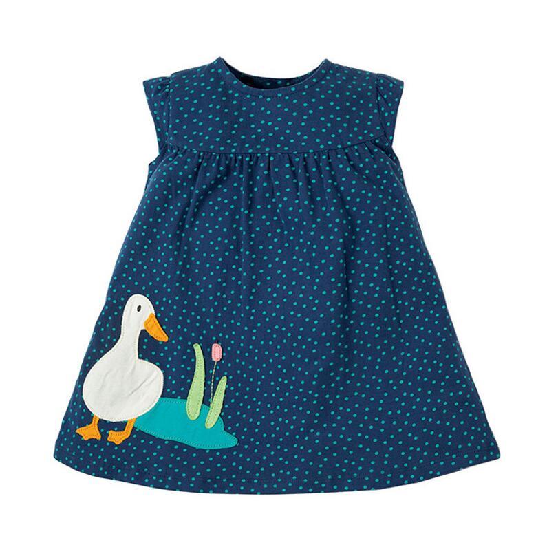 Little Maven 2021 New Summer Baby Girls Clothes Brand Dress Kids Cotton Animal Leopard Fruit Flower Print Sleeveless Dresses 2