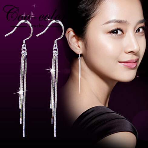 d735db8f7 Fashion Jewelry Wholesale Silver Plated Three-Wire Tassel Hook Super Long  Dangle Earrings for women