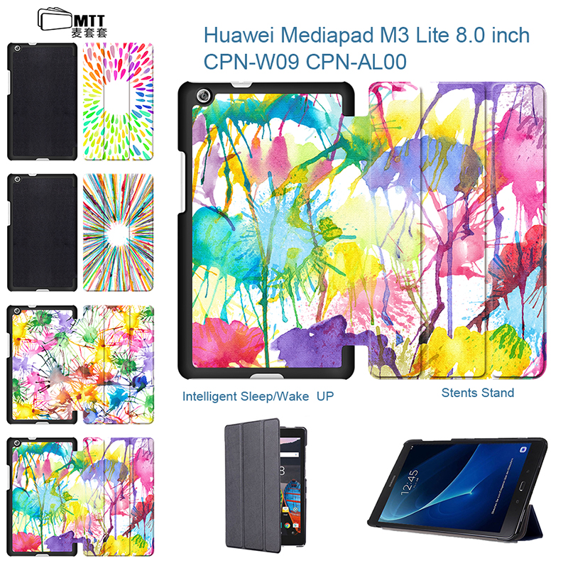 MTT Colorful Aquarelle PU Leather Slim Case Cover for Huawei Mediapad M3 Lite 8.0 Flip Stand Tablet Case for Huawei M3 Lite 8.0 flip left and right stand pu leather case cover for blu vivo air