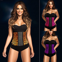 2015 NEW leopard Waist Workout Cincher Underbust Corset Steel Boned Body Shaper Shapewear latex rubber Corset XS-3XL Women girl