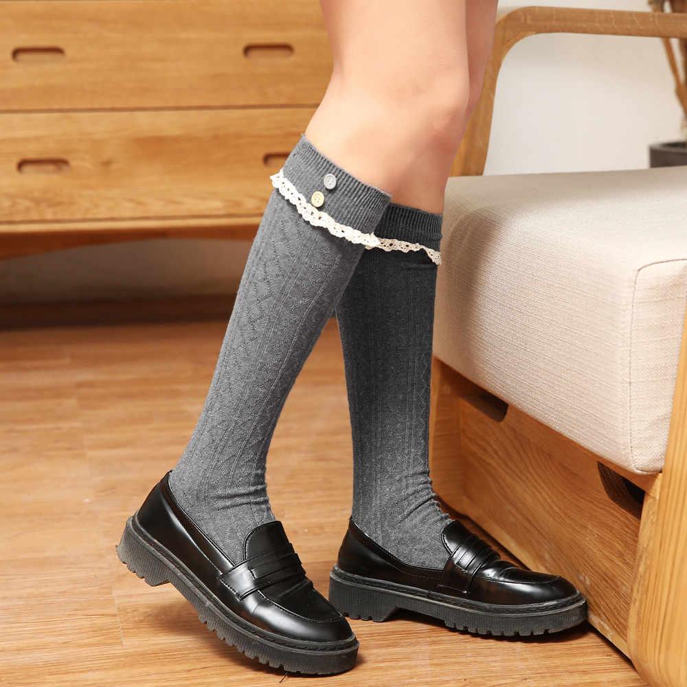 ผู้หญิงฤดูหนาวผ้าฝ้ายอบอุ่นถักถุงเท้ารองเท้าเข่าสูง Slim ขาต้นขา soft Drop Shipping 2018 ใหม่แฟชั่น