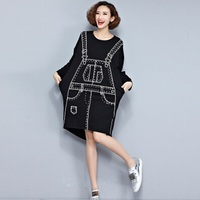 Plus Size Autumn Dress 3D Pattern Print T Shirt Cotton Female Hlaf T Shirt Fashion Big
