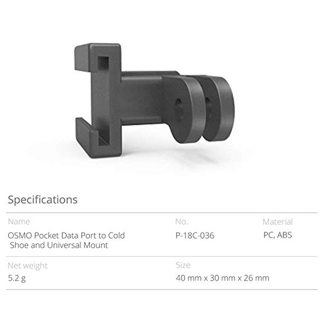 Easy install handheld gimbal expansion cold shoe universal mount data port selfie accessories lightweight for dji osmo pocket