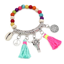 VONNOR Jewelry Colorful Tassel Bohemian Bracelet for Women Beads Strand Bracelet Female Friendship Alloy Accessories