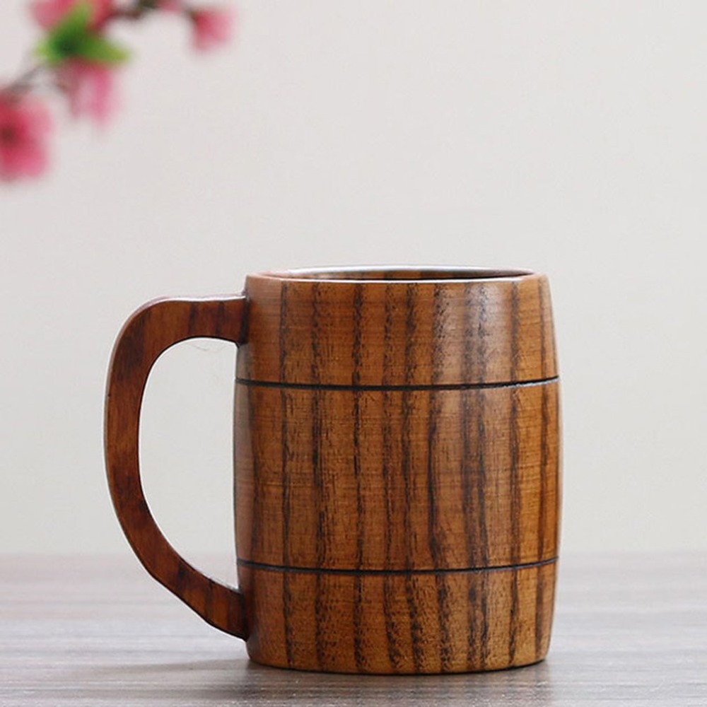 Handmade Solid Coffee Mug Beer Mug With Handle Pure Copper Moscow Mule Mugs With Large Capacity Wooden Cup Drinkwares in Mugs from Home Garden