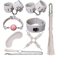 8 Pcs SM Bondage Set Kit Bdsm Sex Erotic Toys Handcuffs Ball Whip Collar Fetish Sex