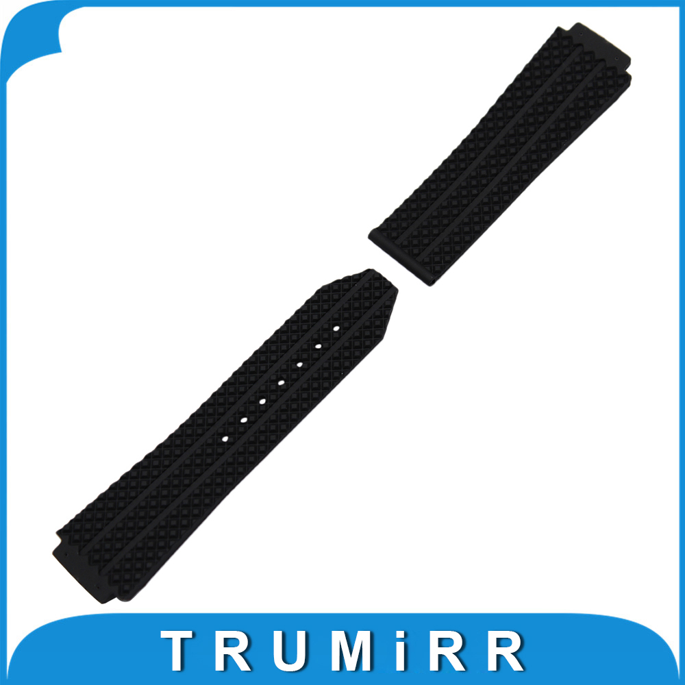 Silicone Rubber Watchband 26mm x 19mm for Hublot Big Bang Watch Band Convex Strap Butterfly Buckle