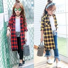 2016 New Kids Girls Long Sleeved plaid shirt shirt Korean long coat spring tide free shipping