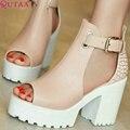 QUTAA Женская Летняя Обувь Квадратные Высокий Каблук ПУ кожа Peep Toe Лоскутные Женщины Насосы Дамы Свадебная Обувь Размер 34-43