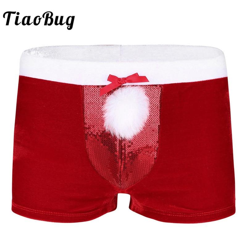 Aliexpresscom  Buy Tiaobug Fashion Sequin Men Velvet Red Boxer Shorts Christmas -9120