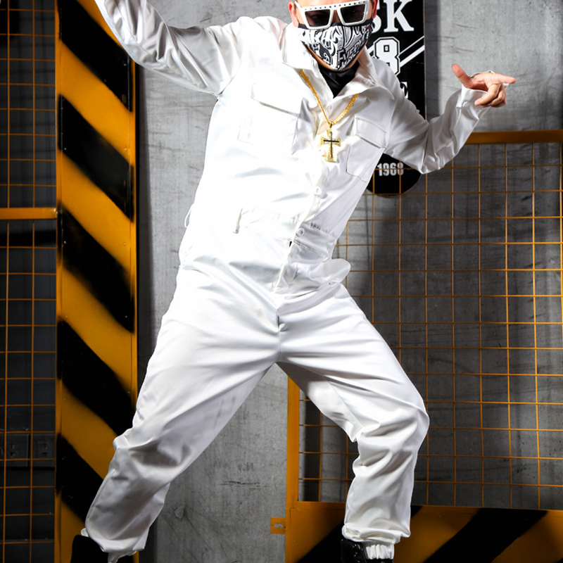 Male A Pieces Trousers Overalls Men Fashion Hip Hop Long Sleeve White Jumpsuits Streetwear Casual Tooling Harem Pants