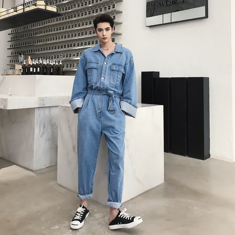 Pants Lovely Couple Clothes Male Streetwear Overalls Jumpsuit Harem Trousers Men High Street Hip Hop Casual Long Sleeve Jumpsuit Cargo Pant Men's Clothing