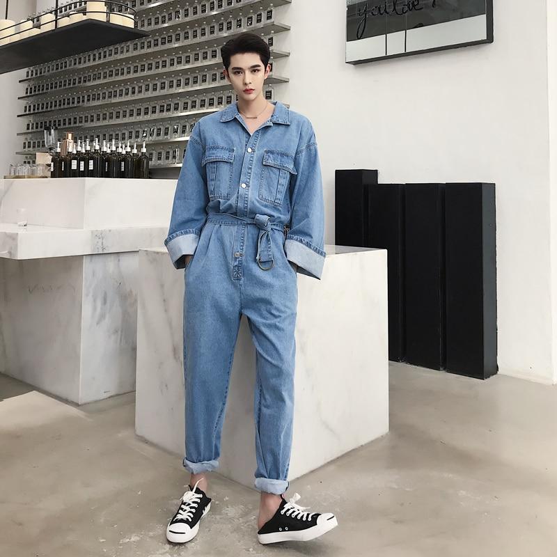 Men Retro Fashion Casual Loose Denim Overalls Streetwear Hip Hop Long Sleeve   Jeans   Harem Pant Male Women Jumpsuit   Jeans   Trousers