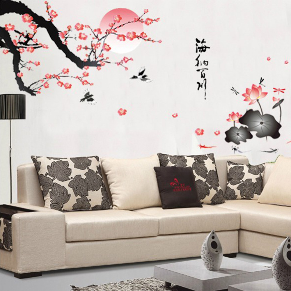 buy plum blossom lotus flowers removable wall art decals vinyl stickers art. Black Bedroom Furniture Sets. Home Design Ideas