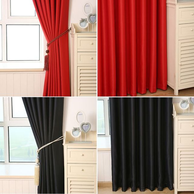 New Solid Color Semi Glossy Curtains Black Red Window For Living Room