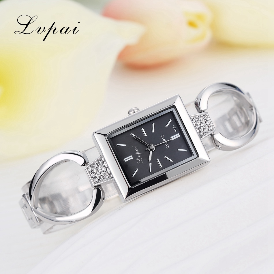 Lvpai Luxury Ladies Black And Silver Watch Women Bracelet Wrist Watch Brands With Alloy Skeleton Strap Women Dress Quartz Watch women s stylish zinc alloy rhinestones quartz analog bracelet watch black silver 1 x 377