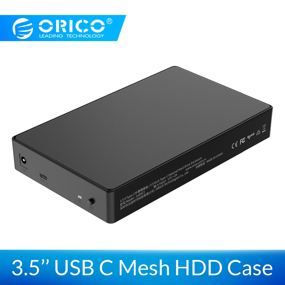 ORICO HDD Case 3.5 SATA To USB 3.1 Hard Drive Enclosure 5Gbps For HDD Box Type C 3.1 Case Support UASP For Macbook Pro