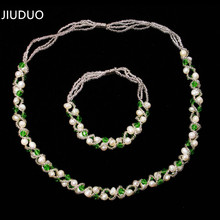 JIUDUO jewelry Cheap shipping natural freshwater cultured pearl necklace Bracelet Set gift elegant fashion wild female models