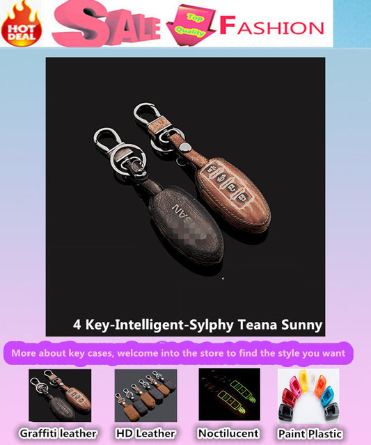 High Quality car styling cover detector Leather keys bag cases intelligent/folding Graffiti special for *New Sylphy* Teana Sunny