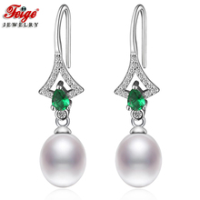Fashion Natural Pearl Drop Earrings for Woman Anniversary Jewelry Gift 8-9MM White Freshwater Cubic Zirconia Earring FEIGE