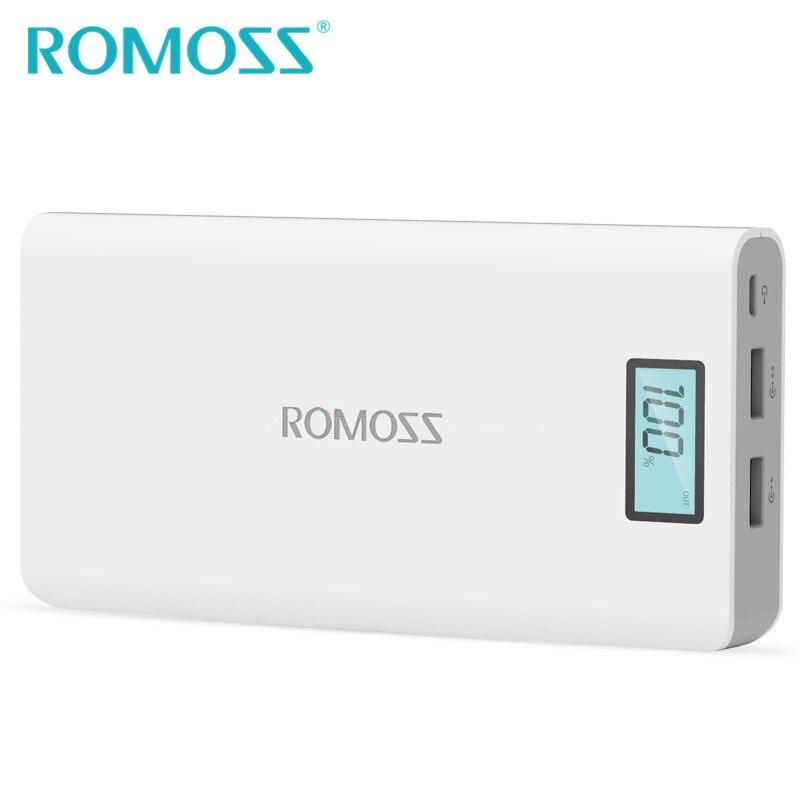 Novo Sentido ROMOSS 20000 mAh Banco de Potência Originais 6 Mais Externa Powerbank Bateria de Backup de Energia USB Duplo para Samsung & iPhone