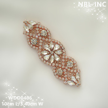 (30pcs)Wholesale iron on hand sewing beaded rose gold crystal rhinestone applique patch for wedding dresses headband WDD0406