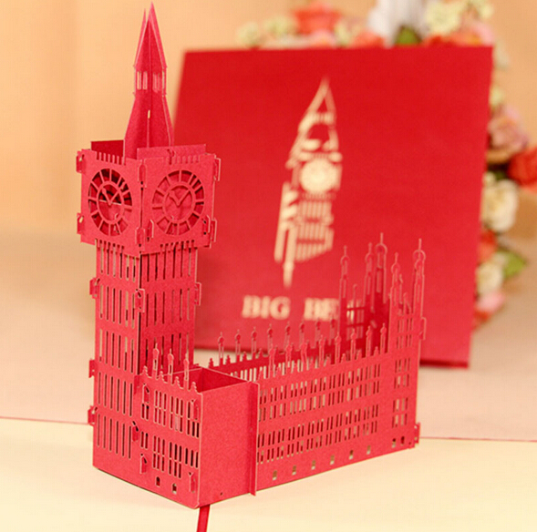 5pcs Big Ben Handmade Kirigami Origami 3D Pop UP Greeting Cards For Wedding Birthday Party Gift