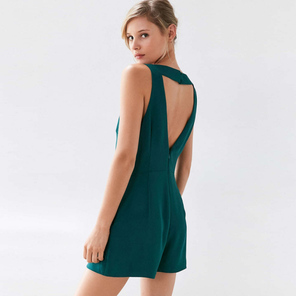 9ce9bf4fee IRISIE Apparel Green Sexy Backless Female Jumpsuit Romper Casual V Neck  Casual Women Playsuit Summer Sleeveless Loose Romper-in Rompers from Women s  ...