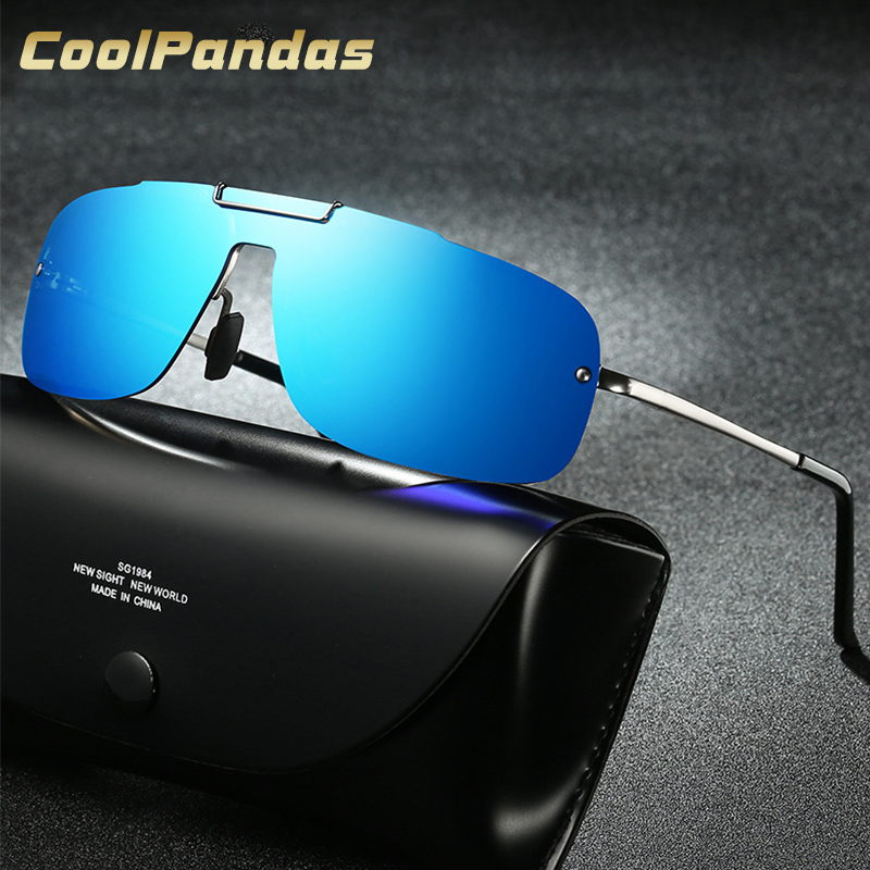 CoolPandas Aluminum Driving Mens Polarized Sunglasses Rimless Rectangle Sun Glasses Male Eyewear Accessories Men Oculos De Sol