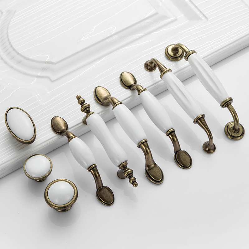 White Ceramic Door Handles European Antique Furniture Handles Drawer Pulls Kitchen Cabinet Knobs and Handles kak pumpkin ceramic handles 40mm drawer knobs cupboard door handles single hole cabinet handles with screws furniture handles