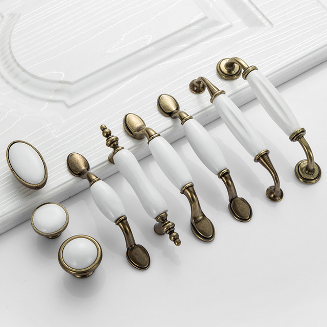Beautiful White Ceramic Door Handles European Antique Furniture Handles Drawer Pulls  Kitchen Cabinet Knobs And Handles