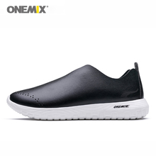 ONEMIX Men Casual Shoes Breathable Leather Fashion Lightweight Slip-on Lazy Unisex Loafers Male For Walking