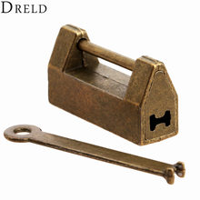 1Pc Vintage Antique Iron Chinese Old Lock Retro Brass Padlock Jewelry Wooden Box Padlock Lock for Suitcase Drawer Cabinet + Key(China)
