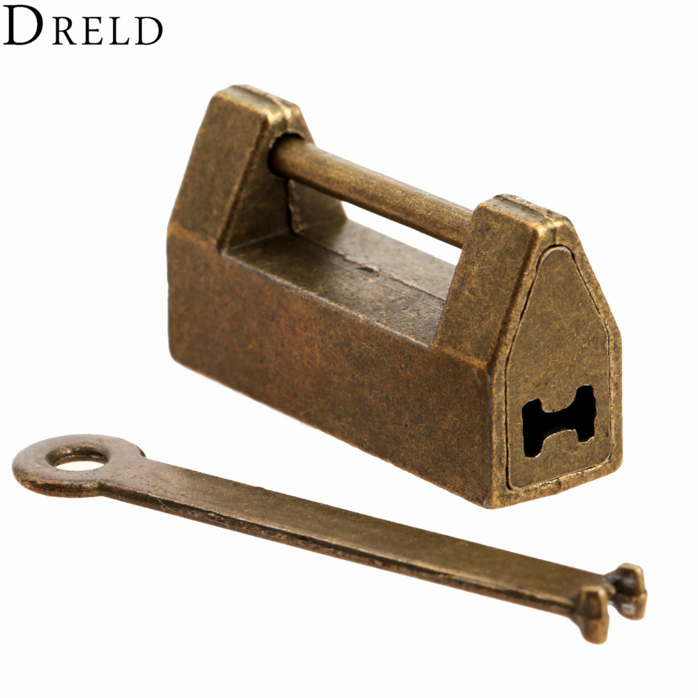 1Pc Vintage Antique Iron Chinese Old Lock Retro Brass Padlock Jewelry Wooden Box Padlock Lock for Suitcase Drawer Cabinet + Key