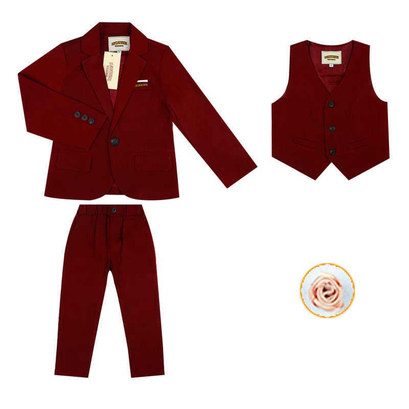 Торжественный блейзер с цветочным узором для мальчиков; комплект одежды для принца; детская куртка; жилет; брюки; костюм-смокинг для свадьбы; Детский костюм для дня рождения