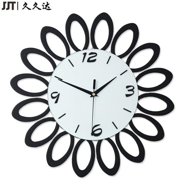 Duvar Saati Bois Fleur Forme 3d Noir Horloge Murale Design Moderne