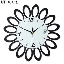 duvar saati Wood Flower Shape 3D Black Wall Clock Modern Design Clocks For Home Decor Gift