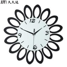 duvar saati Wood Flower Shape 3D Black Wall Clock Modern Design Clocks For Home Decor Gift