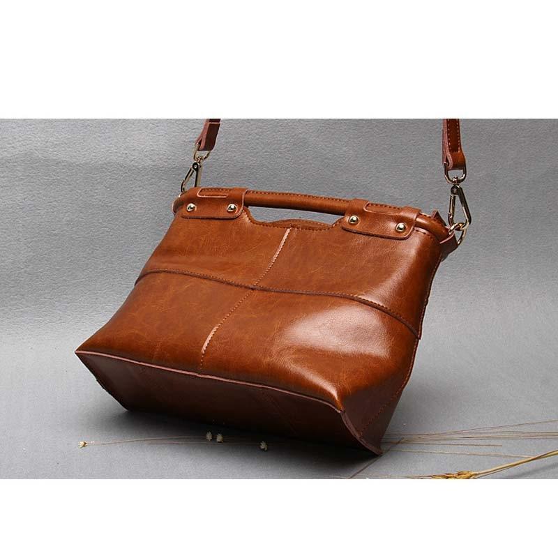 Vintage split lederen tas mode handtas dames draagtas vrouwelijke - Handtassen - Foto 2