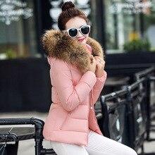 2017New модная зимняя хлопковая куртка Тонкий капюшоном женщин стеганая одежда короткие парки Большой воротник из толстого хлопка верхняя одежда M-3XL