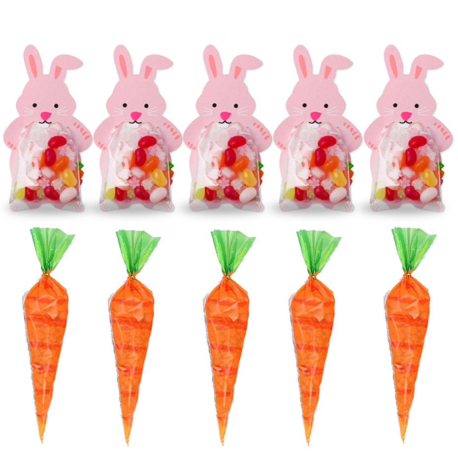 10pcs Easter Party Decorations Carrot Candy Cone Bags Pink Rabbit Candy Bags Box Cookie Bags DIY Gift Bags With Greeting Cards